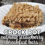 These Crock Pot Oatmeal Strawberry Breakfast Bars are perfect to make at the beginning of the week for a quick breakfast for the rest of the week! So yummy!