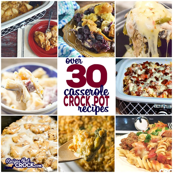 Do you need quick and easy recipes for breakfast or dinner? This collection of Easy Crock Pot Casserole Recipes are great for family meals and holidays. This must have list includes Crock Pot Tater Tot Casserole, Crock Pot Bacon Egg Cheese Casserole, Crock Pot Cowboy Casserole, Crock Pot Chicken Bacon Ranch Pizza Casserole, Crock Pot Broccoli Cheese Casserole and much, much more! This list is full of crock pot recipes for low carb casseroles, breakfast casseroles, dinner casseroles and side dish casseroles.
