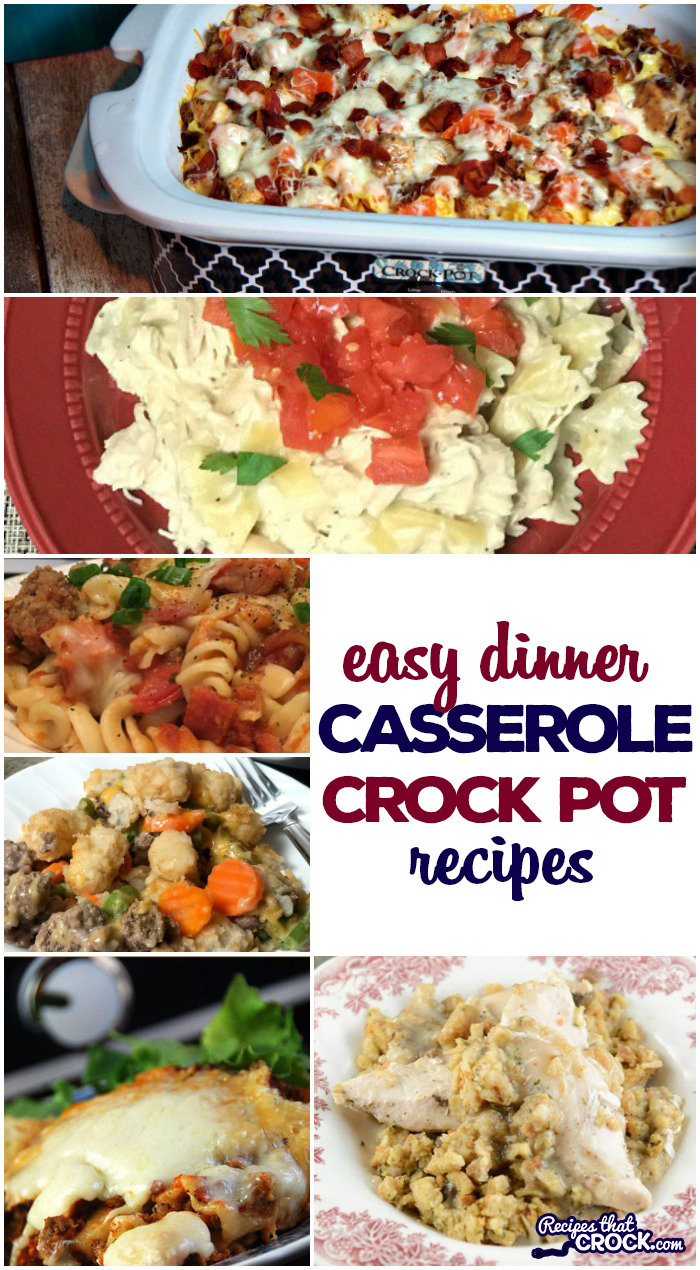 Easy dinner casserole crock pot recipes for the casserole crock pot including Crock Pot Tater Tot Casserole, Crock Pot Sausage Potato Casserole, Crock Pot Crustless Pizza, Crock Pot Chili Dog Casserole, Ham and Cheese Pasta Bake, Crock Pot Meat Lovers Pizza Casserole, Crock Pot Cowboy Casserole, Crock Pot Chicken Bacon Ranch Pizza Casserole, Easy Crock Pot Creamy Chicken Pasta Casserole, Crock Pot Chicken Pot Pie and much, much more! Low carb options too!
