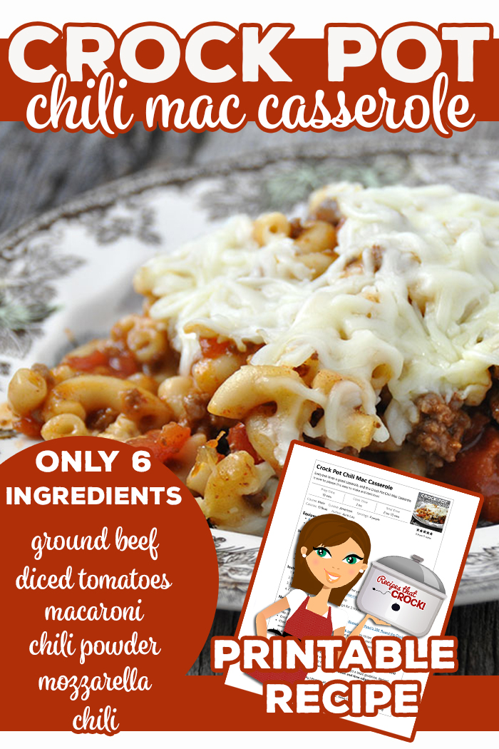 Everyone loves a good casserole, and this Crock Pot Chili Mac Casserole is sure to please! It is easy to make and delicious! Ground beef, chili, macaroni, tomatoes, cheese make this casserole a great one pot meal. via @recipescrock