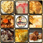 This week's weekly menu features Crock Pot Beefy Mac, Crock Pot Cajun Chicken, Crock Pot Beef Barley Soup, Crock Pot Italian Pulled Pork Sandwiches, Crock Pot Tangy Pork Chops, Crock Pot Garlic Tomato Chicken, Slow Cooker Steak with Gravy, Crock Pot Cream Soda Poke Cake, Homemade Crock Pot Meatballs and Crock Pot Cheese Souffle.