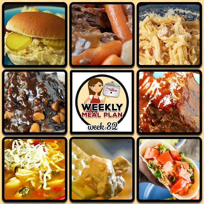This week's weekly menu features Crock Pot Creamed Chicken Sandwich, Quick and Easy Chicken Tacos, Slow Cooker Tortellini Soup, Slow Cooker Ranch Pork Chops, Crock Pot Cheesy Ham Fettuccine, Crock Pot Barbecue Ribs, Best Ever Slow Cooker Roast, Crock Pot Chocolate Peanut Butter Lava Cake, Crock Pot Buffalo Ranch Dip and Crock Pot Blueberry Coffee Cake.