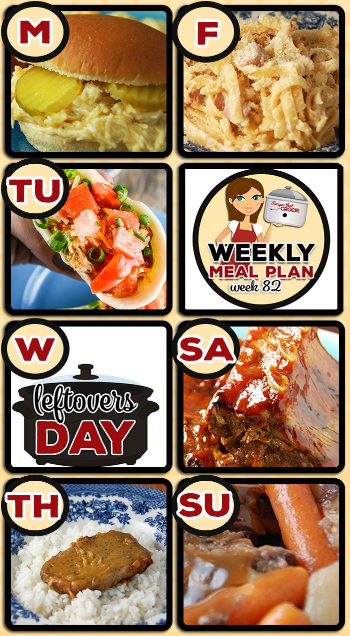 This week's weekly menu features Crock Pot Creamed Chicken Sandwich,Quick and Easy Chicken Tacos,Slow Cooker Tortellini Soup,Slow Cooker Ranch Pork Chops, Crock PotCheesy Ham Fettuccine,Crock Pot Barbecue Ribs,Best Ever Slow Cooker Roast,Crock Pot Chocolate Peanut Butter Lava Cake,Crock Pot Buffalo Ranch Dip andCrock Pot Blueberry Coffee Cake.