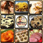 This week's weekly menu features Easy Shredded Pork, Slow Cooker Taco Soup, Crock Pot Chili Soup, Creamy Crock Pot Dijon Mushroom Pork, Crock Pot Philly Cheese Steak Casserole, Crock Pot Campfire Chicken, Easy Crock Pot Corned Beef, Crock Pot Cookies 'n Cream Brownies, Homemade Frozen Meatballs and Crock Pot Blueberry Oatmeal.