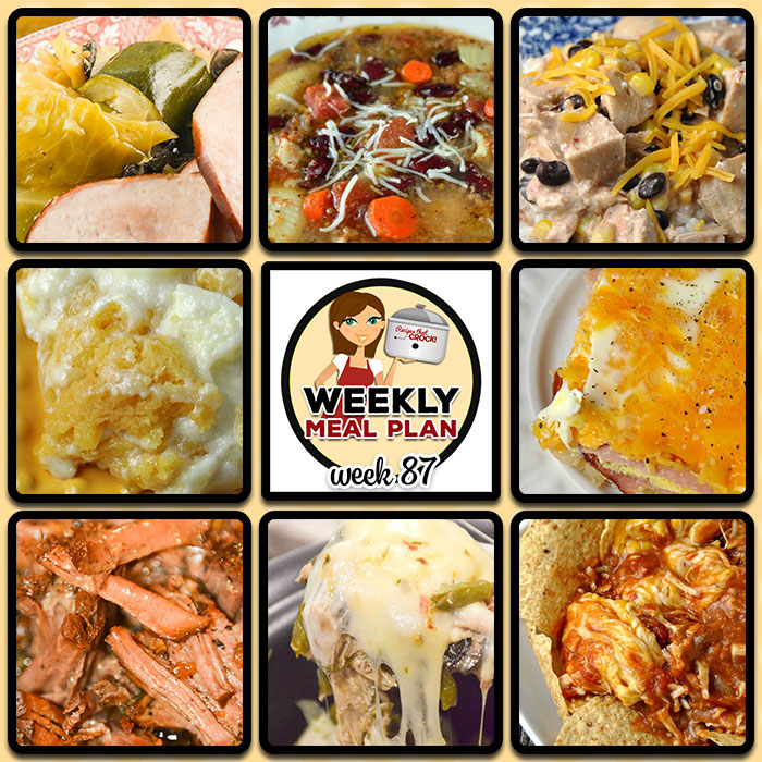 This week's weekly menu features Crock Pot Ham Steak Dinner, Crock Pot Azteca Chicken, Crock Pot Minestrone Soup, Crock Pot Pepper Jack Chicken, Crock Pot Unstuffed Cabbage Casserole, Crock Pot Sausage Corn Chowder, Crock Pot Balsamic Roast, Crock Pot Broccoli Cheese Casserole, Crock Pot Cream Cheese Cookie Spoon Cake, Crock Pot Nacho Chicken Dip and Crock Pot Bacon Egg Breakfast Pie.