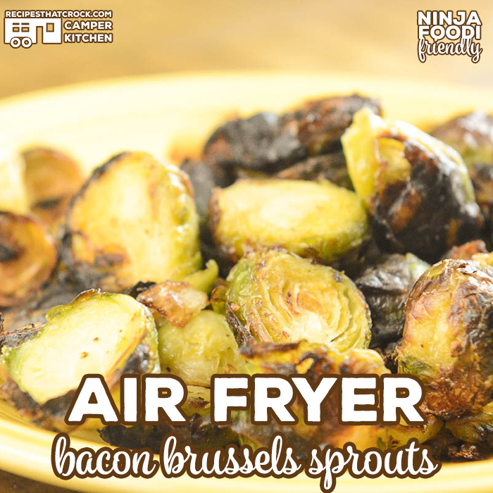 Are you looking for a delicious side dish recipe? Our Air Fryer Bacon Brussels Sprouts is our favorite low carb salty snack or side to make in our Ninja Foodi!