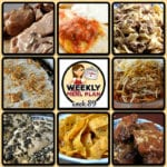 This week's weekly menu features Crock Pot Hamburger Stroganoff, Crock Pot Taco Chicken Bowls, Crock Pot White Chicken Chili, Slow Cooker Pork Steak with Gravy, Crock Pot Honey Lime Chicken, Crock Pot Cabbage Rolls, Easy Crock Pot Round Steak, Crock Pot Brownie S'mores, Crock Pot Ranch Corn Chips and Crock Pot Banana Bread.
