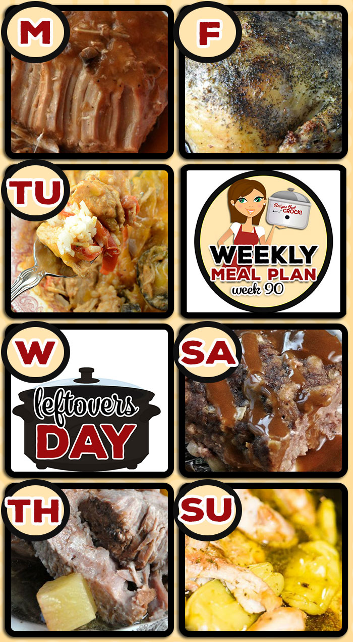 This week's weekly menu features Crock Pot Pork Loin with Gravy, Crock Pot Creamy Chicken Fajita Bowls, Crock Pot Chuck Wagon Stew, Crock Pot Brown Sugar Pineapple Pork Roast, Crock Pot Roasted Chicken, Crock Pot Swedish Meatloaf, Crock Pot Mississippi Chicken Thighs, Crock Pot Peppermint Bark, Crock Pot Taco Cheese Dip and Crock Pot Cinnamon Rolls.