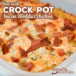 Our Crock Pot Bacon Cheddar Chicken recipe is a family favorite! This creamy loaded chicken casserole is easy to make and also low carb!