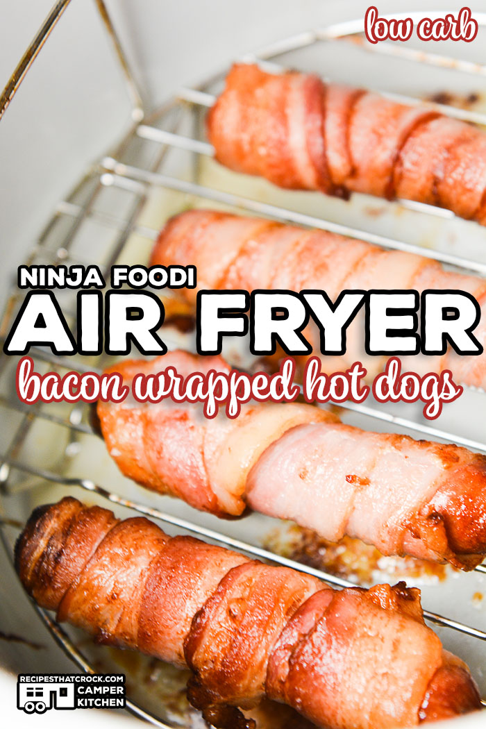 We love making these Air Fryer Bacon Wrapped Hot Dogs! This is a quick and easy low carb Ninja Foodi recipe that kids of all ages love!