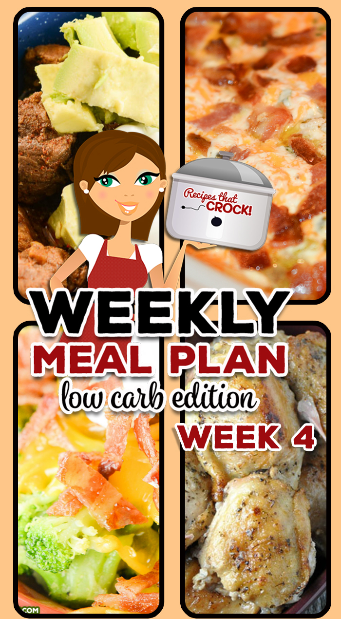 Are you looking for good low carb crock pot recipes? This week's Low Carb Crock Pot Menu includes Crock Pot Bacon Cheddar Chicken, Slow Cooker Texas Chili, and Crock Pot Everything Bagel Dip and more!