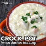 This Crock Pot Lemon Chicken Rice Soup recipe is a delicious twist on chicken soup. It is easy to make and has tender chicken with plenty of flavor!