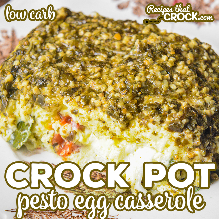Our Crock Pot Pesto Egg Casserole is an easy low carb breakfast casserole with fluffy eggs, savory pesto, tomatoes, basil and mozzarella cheese.