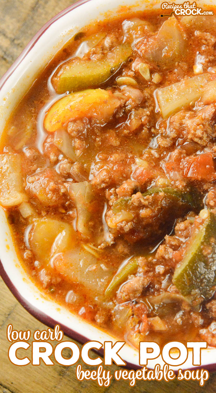 Our low carb Crock Pot Beefy Vegetable Soup is a hearty ground beef soup with tomatoes, onion, zucchini, radishes and cabbage.