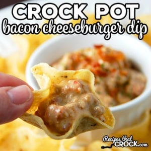 Are you looking for a delicious cheese dip for your next party? This Bacon Cheeseburger Crock Pot Dip is one of our most popular recipes!