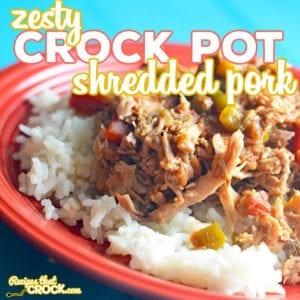 Are you looking for an easy way to switch up your regular crock pot pulled pork recipe? This Zesty Shredded Crock Pot Pork is a recipe we have been using for years to give a little bit of zip to your sandwich or taco-- or making a delicious dish over rice! Or, serve it low carb with a side of broccoli or squash.