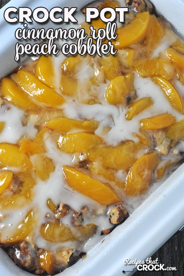 This Crock Pot Cinnamon Roll Peach Cobbler can be thrown together in less than five minutes and is sure to be a crowd favorite at your house or a potluck!