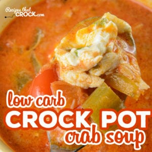 Our Low Carb Crock Pot Crab Soup is a flavorful tomato based soup with tender crab, peppers and celery. Take this soup to the next level with our onion cream cheese topping.