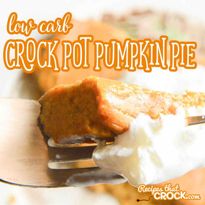 Our Low Carb Crock Pot Pumpkin Pie is an adaptation of our very popular Crock Pot Crustless Pumpkin Pie. This creamy low carb version gives you all the flavor of your favorite pie with a fraction of the carbs!