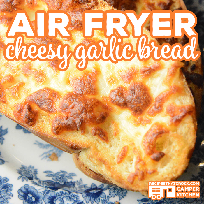 Want to learn how to make garlic cheesy bread in your air fryer or Ninja Foodi? Our Air Fryer Cheesy Garlic Bread is perfectly crispy on the outside and chewy in the middle. Butter, garlic and mozzarella cheese on crusty bread toasted to perfection in your air fryer!