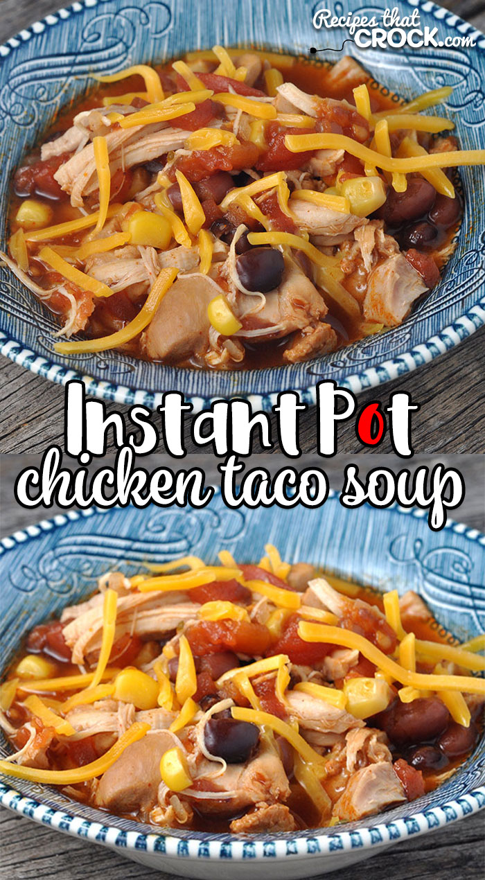 This Instant Pot Chicken Taco Soup is not only delectable and easy to make, it only has a 9 minute cook time! This makes it perfect for a busy weeknight dinner!