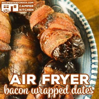 Our Air Fryer Bacon Wrapped Dates are an easy flavorful appetizer you can make in your air fryer or Ninja Foodi using the air crisp feature.