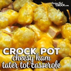This Cheesy Crock Pot Ham Tater Tot Casserole is a super easy recipe that young and old alike devour! It is simple and delicious!