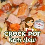 Our Crock Pot Ham Stew is a flavorful one pot meal you can make with leftover ham. The smoky ham flavor cooks into the cabbage, tomatoes and green beans to create a delicious low carb stew.