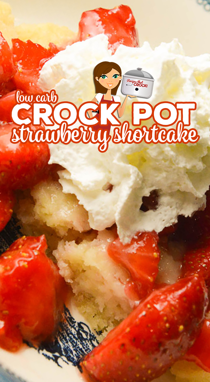 Are you looking for an easy low carb dessert? Our Crock Pot Low Carb Strawberry Shortcake makes a tender sweet cake topped with juicy strawberries and sugar-free whipped cream. This is one of our favorite Carbquick recipes! via @recipescrock
