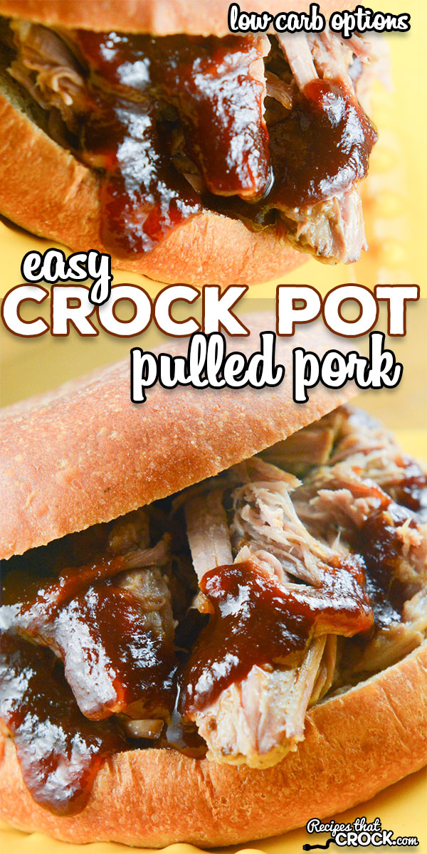 Our Easy Crock Pot Pulled Pork is super simple to throw together and creates perfectly tender pork every time! This fail proof recipe can be enjoyed as a main dish, sandwich or wrap and has many low carb options as well! We LOVE this all day slow cooker recipe! via @recipescrock