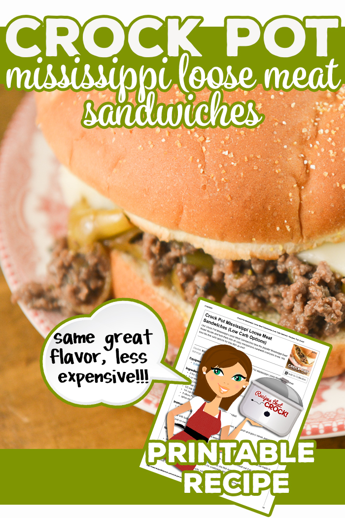 Our Crock Pot Mississippi Loose Meat Sandwiches take the popular Mississippi Beef Roast flavors and turn them into an easy inexpensive sandwich everyone loves. We love the low carb options for this dish as well! via @recipescrock