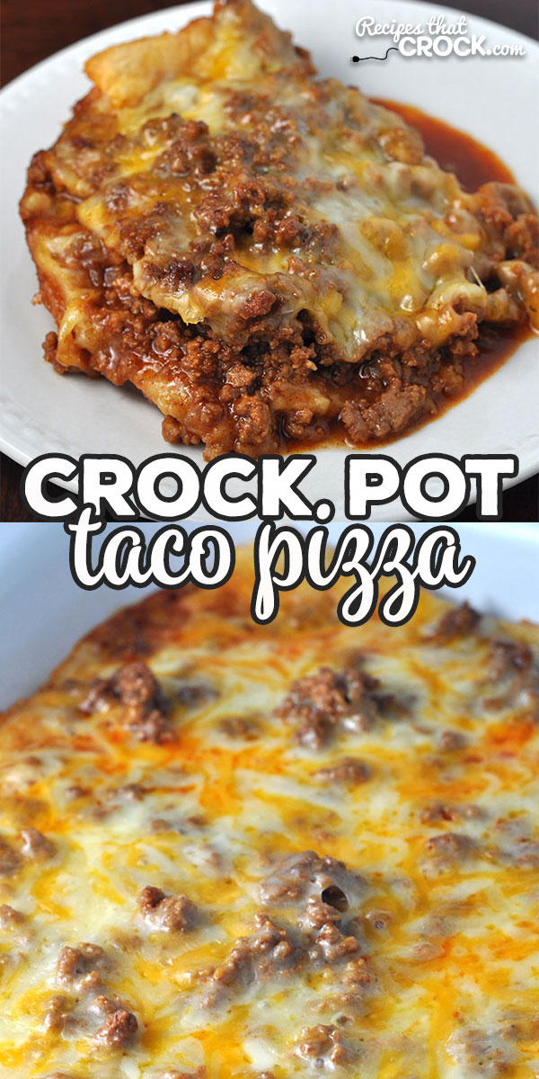 This Crock Pot Taco Pizza is so easy and such a treat! It cooks up quickly, so you can enjoy it even on a weeknight! I am positive you WILL enjoy it! Yum! via @recipescrock via @recipescrock