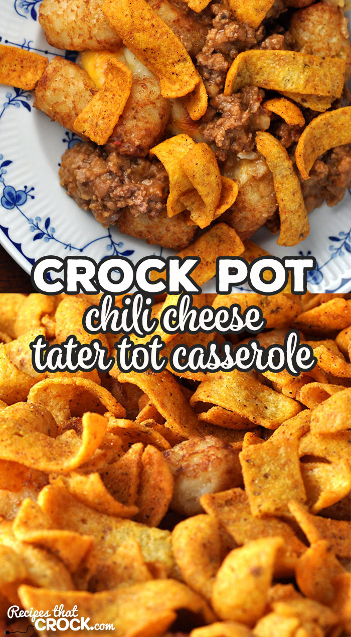 This Crock Pot Chili Cheese Tater Tot Casserole is easy and so delicious! It has an amazing flavor and great crunch with the Chili Cheese Fritos! Yum! via @recipescrock