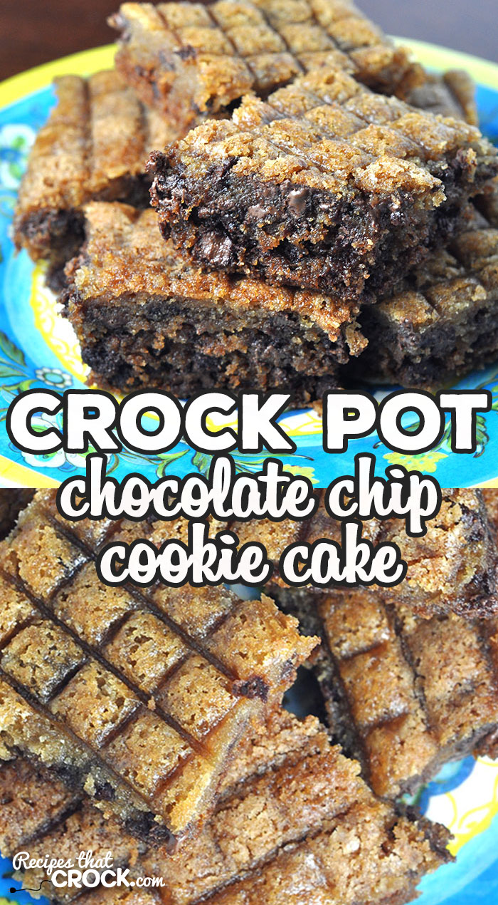 This Crock Pot Chocolate Chip Cookie Cake is super simple to make using an old tried and true recipe with a twist. You make it in your crock pot! via @recipescrock