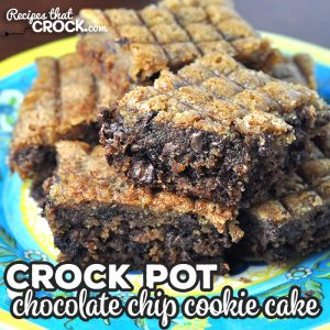 This Crock Pot Chocolate Chip Cookie Cake is super simple to make using an old tried and true recipe with a twist. You make it in your crock pot!