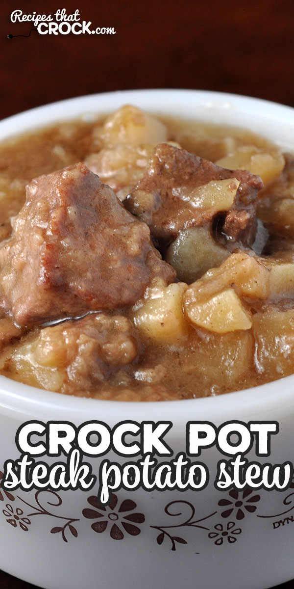 If you enjoy an easy and delectable stew that will fill you up, this Crock Pot Steak Potato Stew is for you! I highly recommend giving it a try! Yum! via @recipescrock