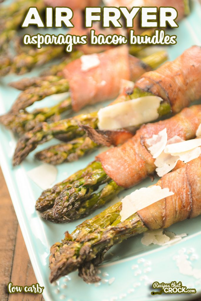Our Air Fryer Asparagus Bacon Bundles are an easy side dish or appetizer you can make in a traditional air fryer, Ninja Foodi or air fry oven. You'll love these bundles of fresh asparagus wrapped in crispy salty bacon topped with shaved Parmesan cheese.