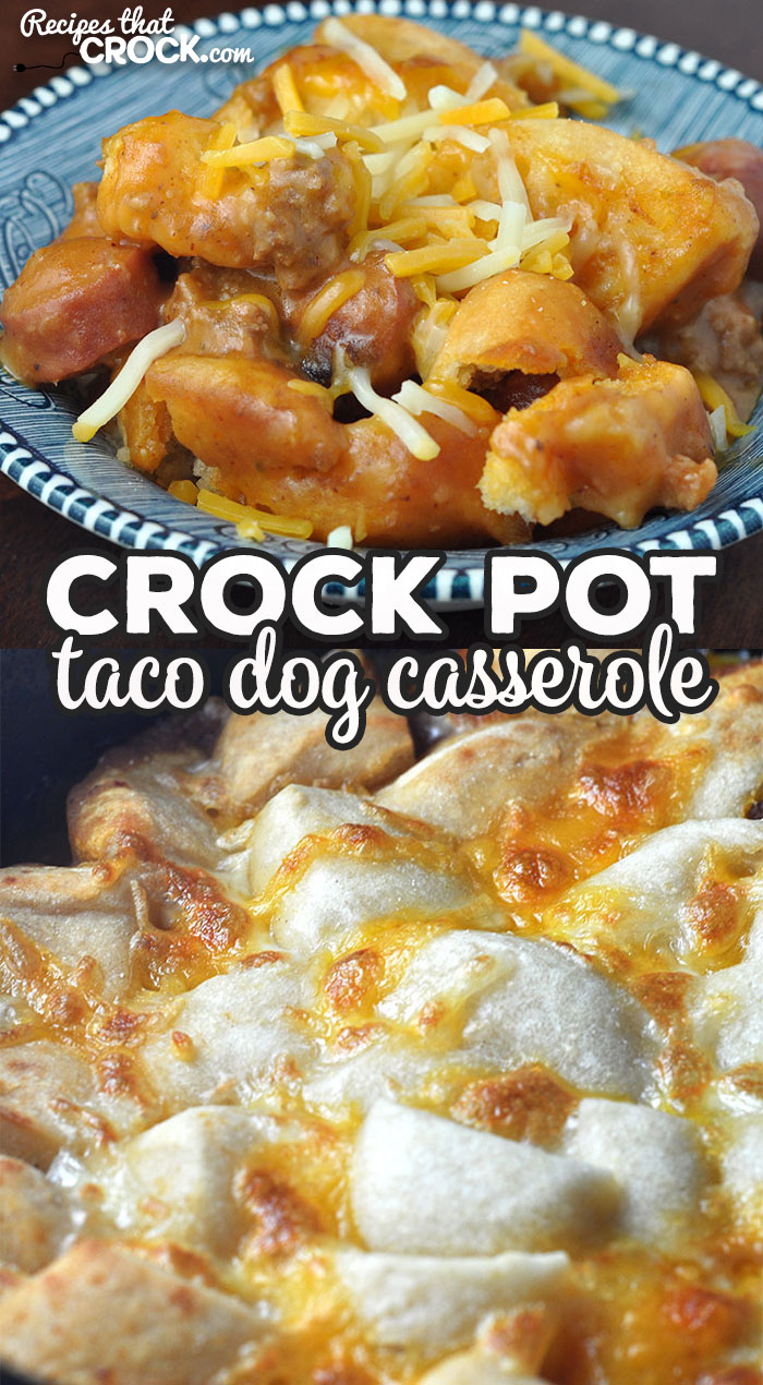 If you are looking for a delicious recipe that is quick and easy to throw together, look no further! This Crock Pot Taco Dog Casserole is wonderful! via @recipescrock