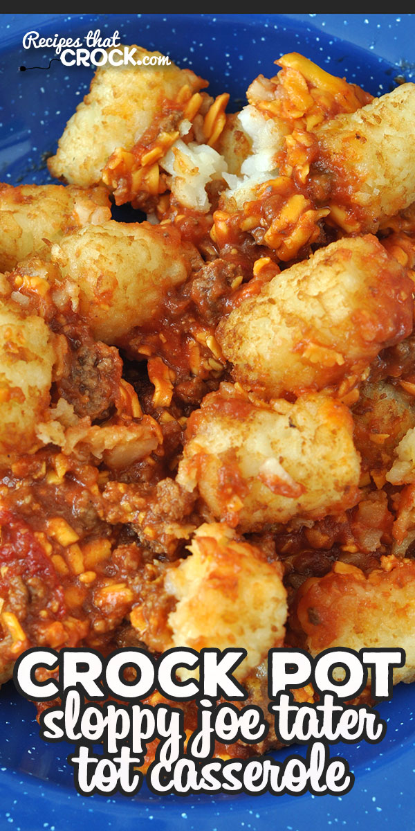 This Crock Pot Sloppy Joe Tater Tot Cassserole is a one-pot, delectable dish! It is easy to put throw together and an immediate crowd pleaser! via @recipescrock