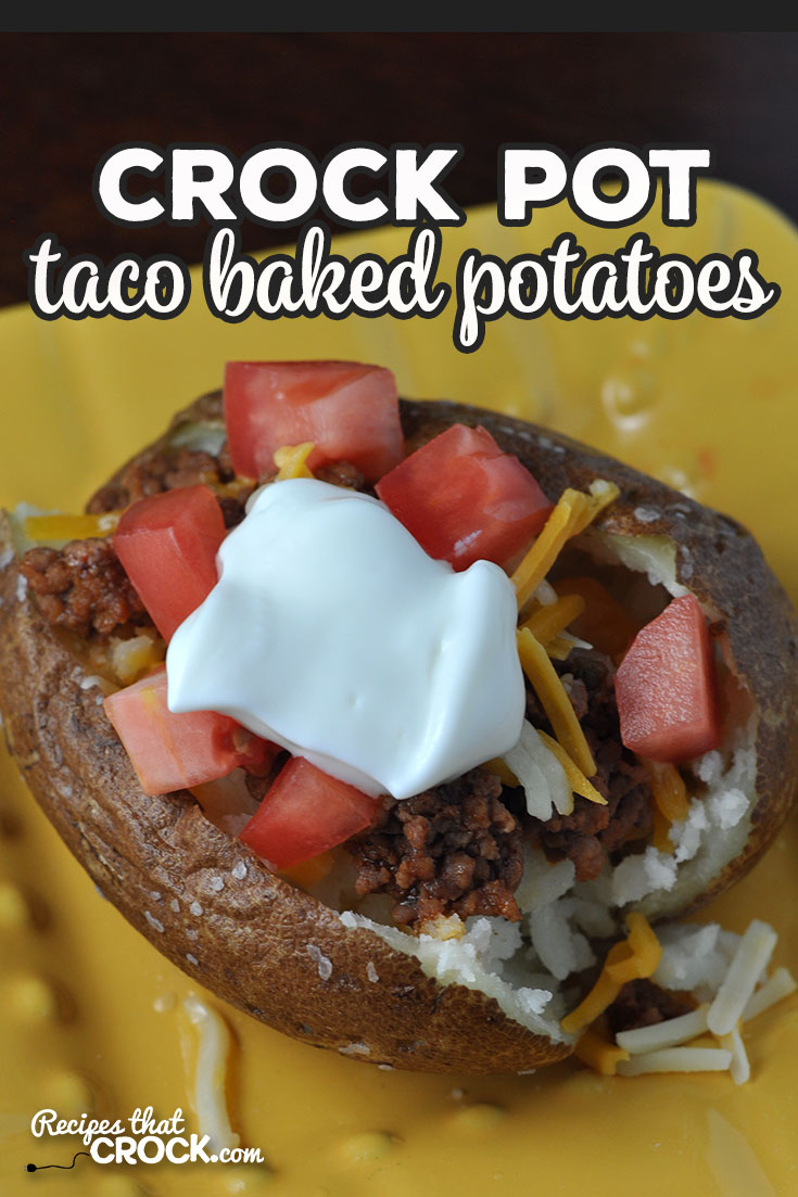 These Crock Pot Taco Baked Potatoes are divine! They are super simple to make too! And everyone can customize their potato to their own tastes! via @recipescrock