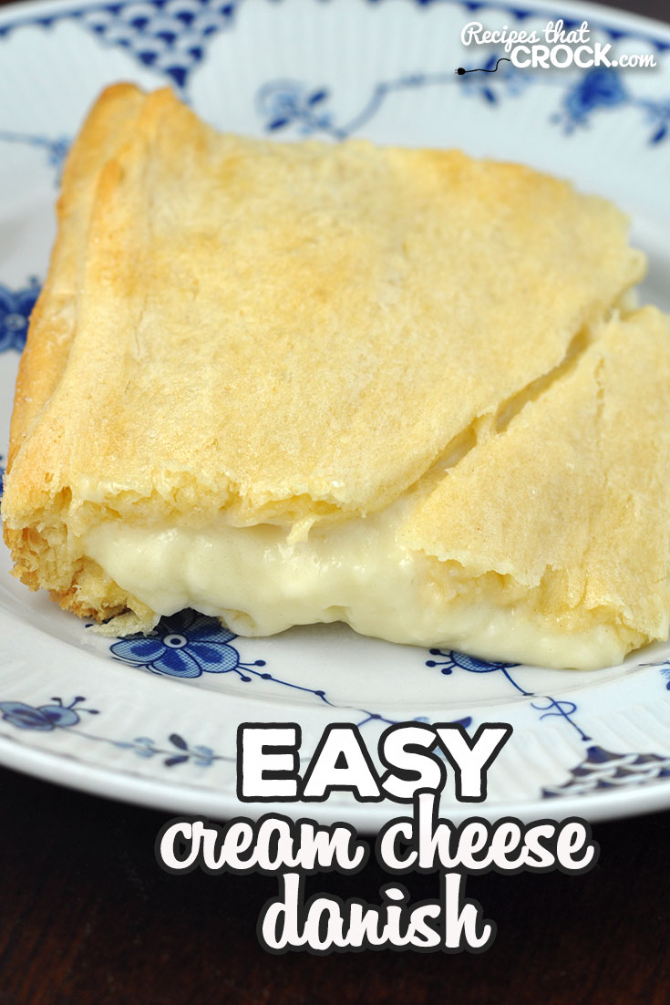 This Easy Cream Cheese Danish recipe for your oven has a delectable creamy center with an amazing flaky crust. Better yet, it is super easy to make!  via @recipescrock