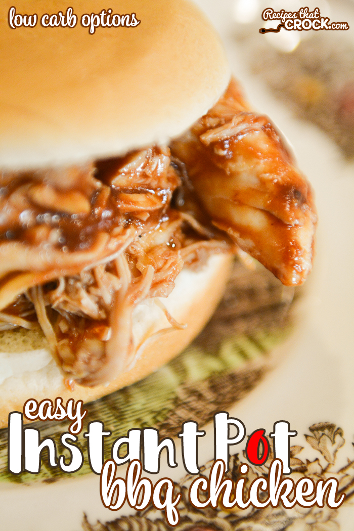 Our Easy Instant Pot BBQ Chicken is so simple to throw together and always a family favorite. Low carb options make this a dish that everyone can enjoy! via @recipescrock