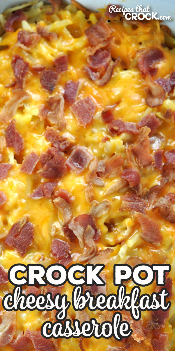 Want an easy recipe for a breakfast casserole that everyone will devour? Then you do not want to miss this delicious Crock Pot Cheesy Breakfast Casserole recipe! via @recipescrock