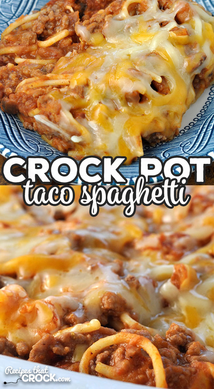 This Crock Pot Taco Spaghetti recipe is easy to throw together and tastes fantastic! Everyone from the youngest to the oldest at your table will love it! via @recipescrock