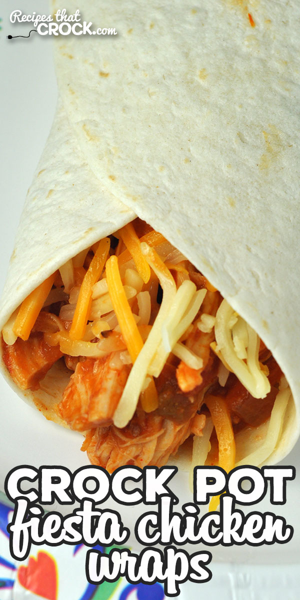 This Crock Pot Fiesta Chicken Wraps recipe is a dump and go recipe that is sure to please all the people at your table. They are so yummy! via @recipescrock
