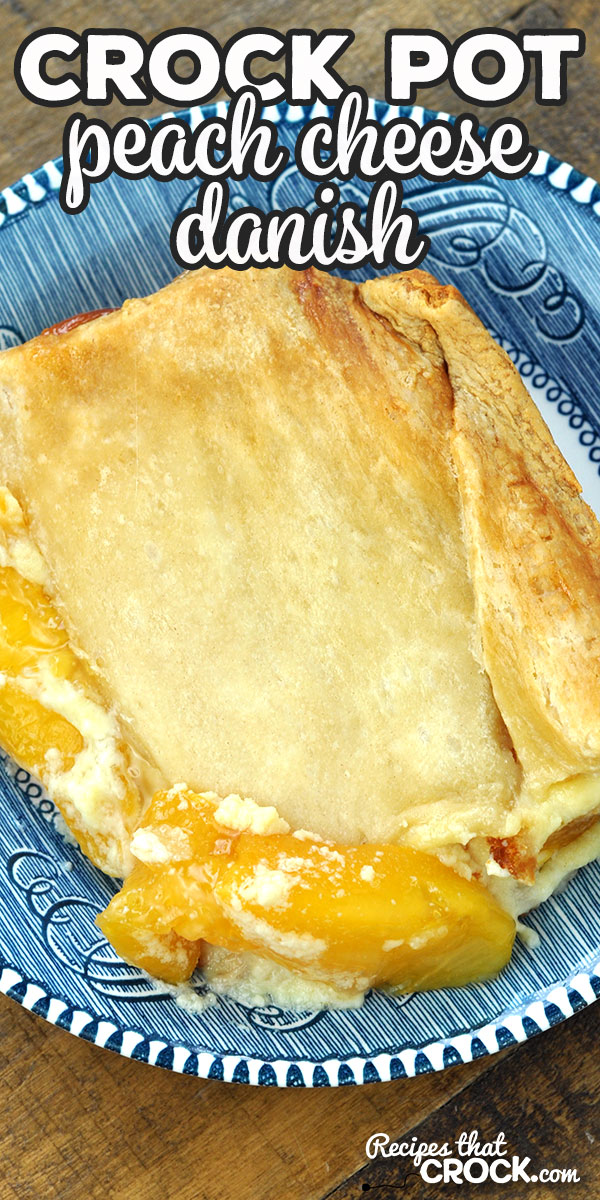 This Crock Pot Peach Cheese Danish is easy, delicious & sure to please all you peach lovers out there! It is a simple and wonderful treat! via @recipescrock