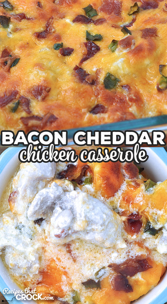 This Bacon Cheddar Chicken Casserole recipe for your oven is delicious and ready in under an hour! Your family and friends will rave about it!