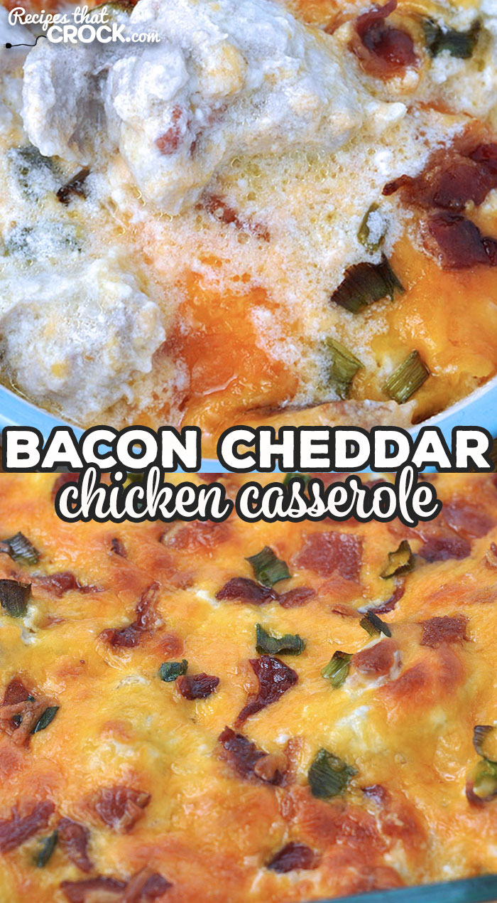 This Bacon Cheddar Chicken Casserole recipe for your oven is delicious and ready in under an hour! Your family and friends will rave about it! via @recipescrock