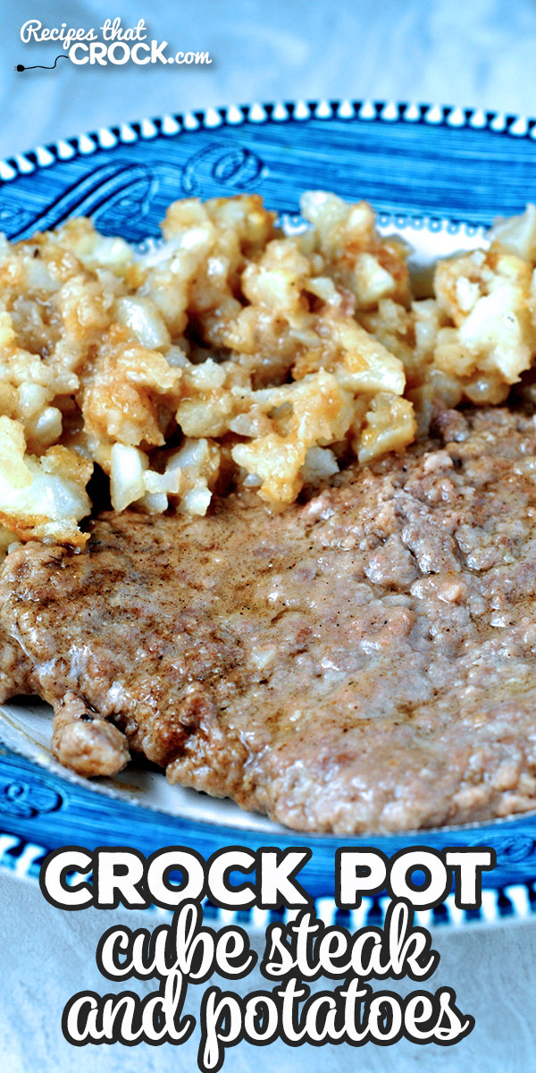 This Crock Pot Cube Steak and Potatoes recipe has an amazing flavor and is a cinch to throw together! You are going to love it! via @recipescrock