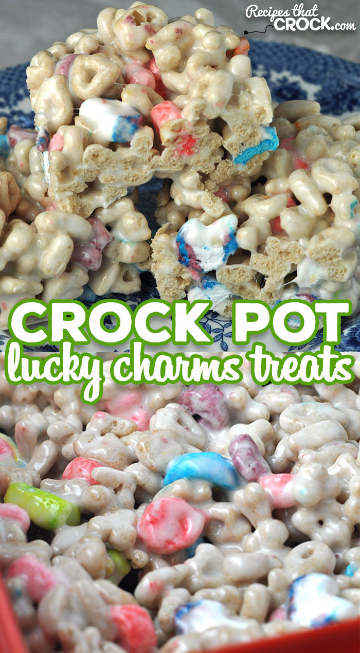 These Crock Pot Lucky Charms Treats are super fun and delicious! I think you are going to love this twist on your traditional Rice Krispy Treats! via @recipescrock